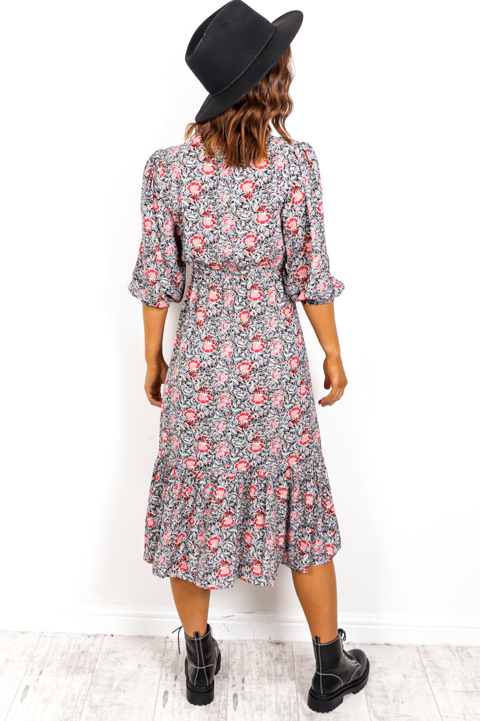 Rose Matter - Black Pink Floral Print Midi Dress