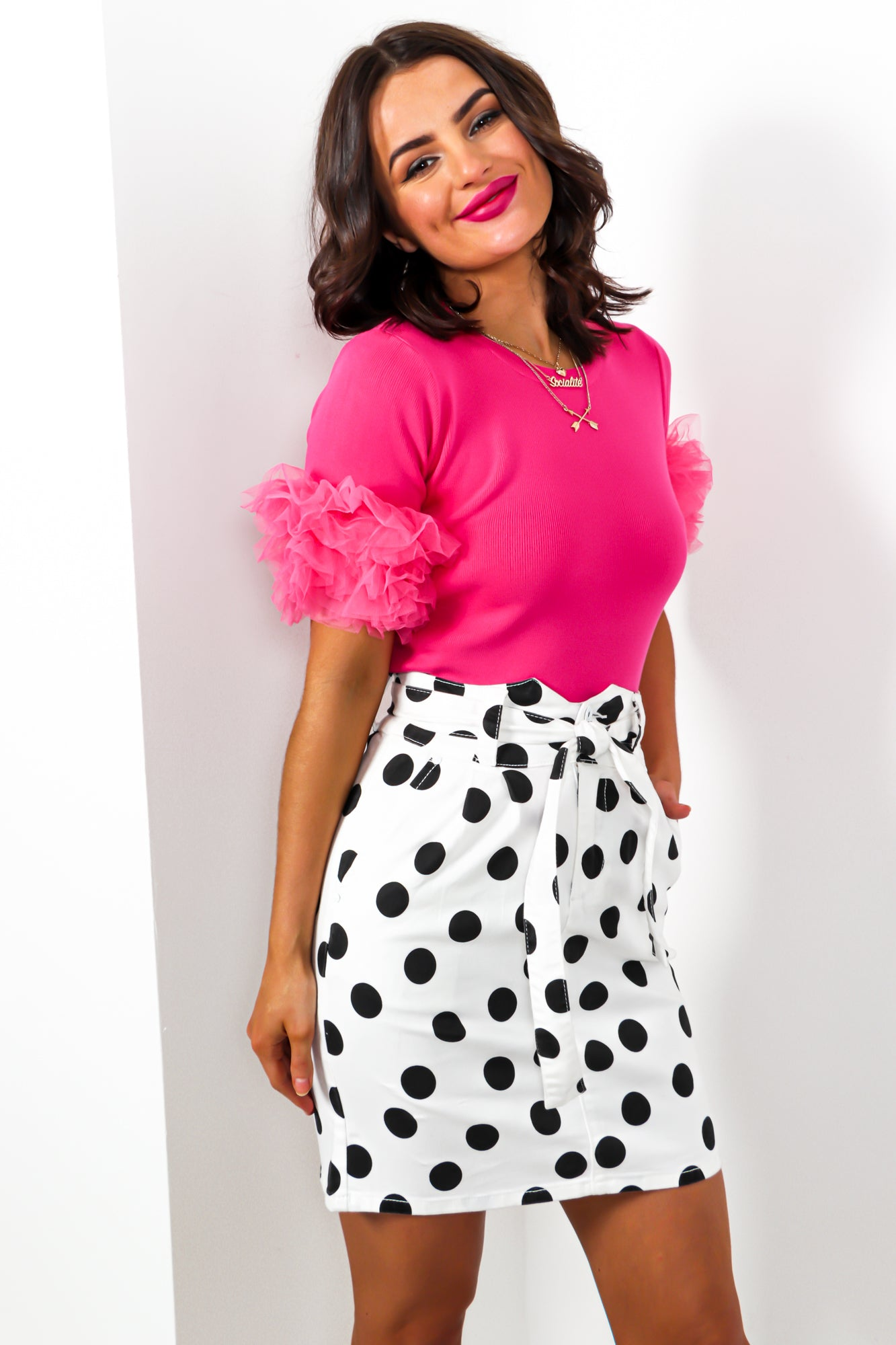 Round In Circles - Skirt In WHITE/POLKA-DOT