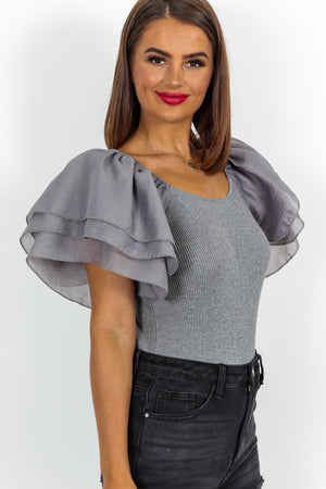 Ruffle Their Feathers Grey Ribbed Knitted Top