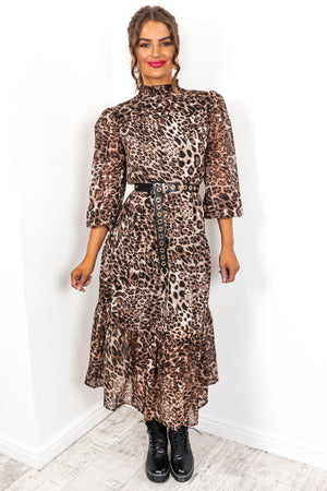Running Wild - Beige Leopard Print Midi Dress