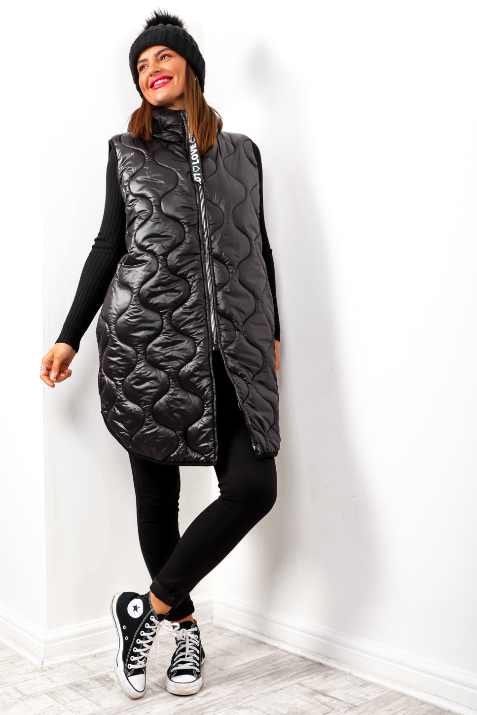 Send My Love - Black Quilted Gilet
