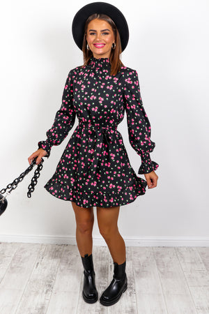 She Frill Be Loved - Black Floral Mini Dress