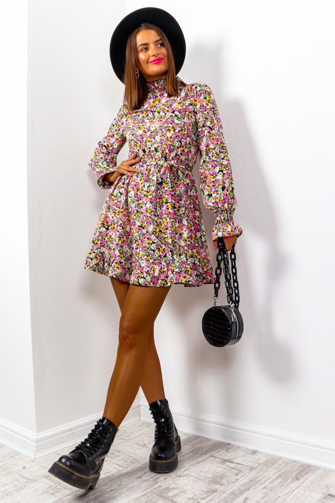 She Frill Be Loved - Multi Floral Mini Dress