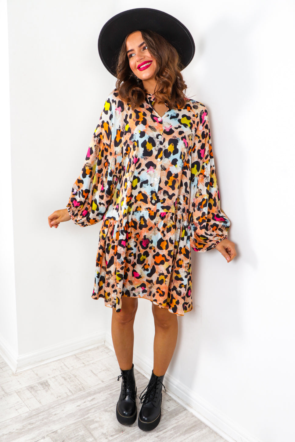 She's A Savage - Orange Leopard Smock Dress