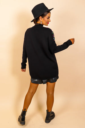 Shimmer And Shine - Black Multi Sequin Knitted Jumper