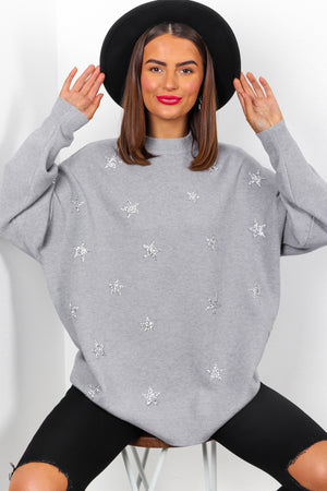 Shine All Day - Grey Star Embellished Jumper
