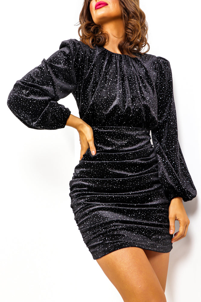 Shine On You - Black Sparkle Ruched Mini Dress