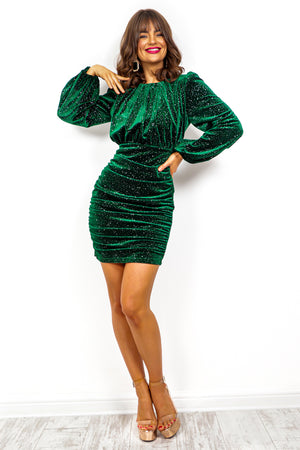 Shine On You - Forest Sparkle Ruched Mini Dress