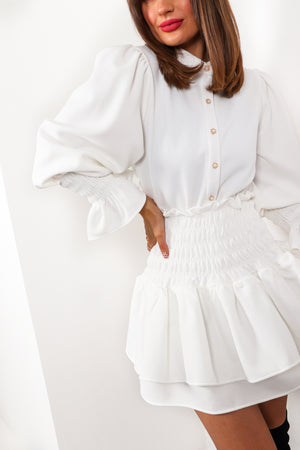 Shirred It All Before - White Co-ord