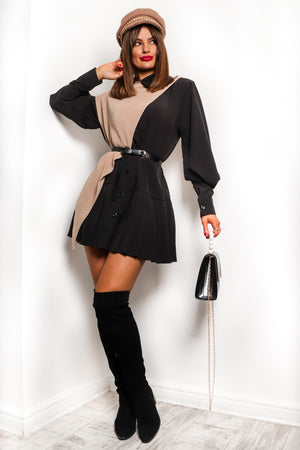 Shirt Feelings - Black Beige Co-ord Set