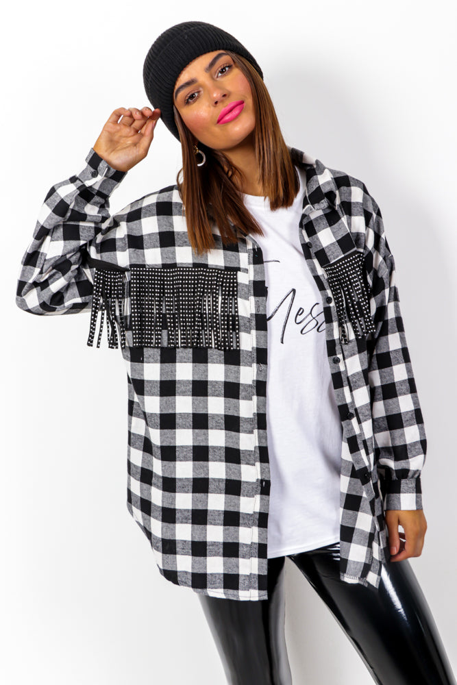 Shirt Up - Black White Tassel Check Shirt