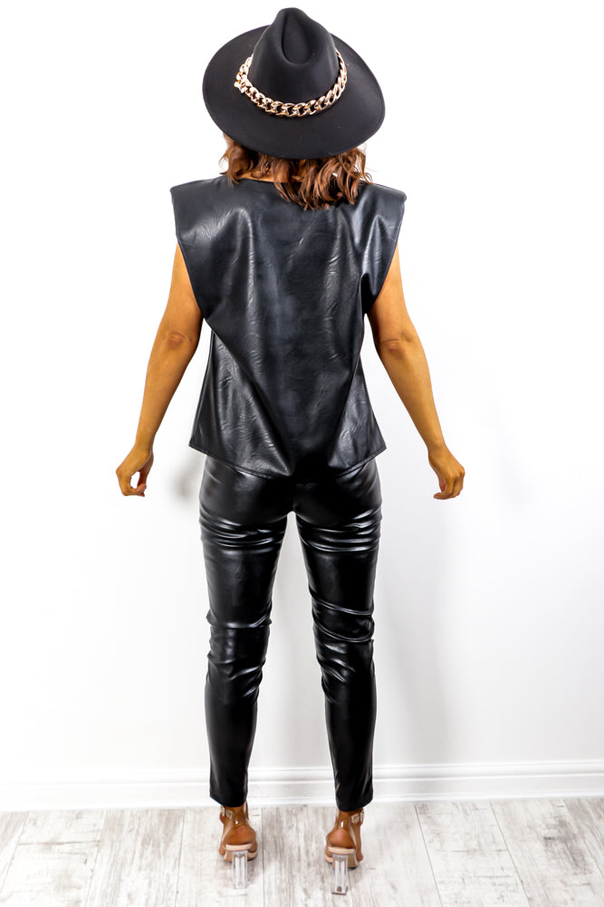 Shoulder On - Black Faux Leather Top