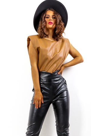 Shoulder On - Tan Faux Leather Top