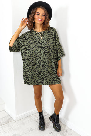 Khaki Leopard Print Oversized T-shirt Dress