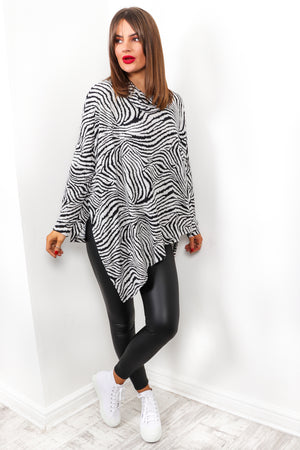 Show Your Stripes - Black White Zebra Print Top