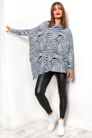 Show Your Stripes - Blue Navy Tiger Print Top