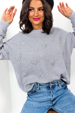 Show Me Love - Grey Rhinestone Jumper