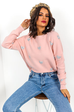 Show Me Love - Blush Rhinestone Jumper