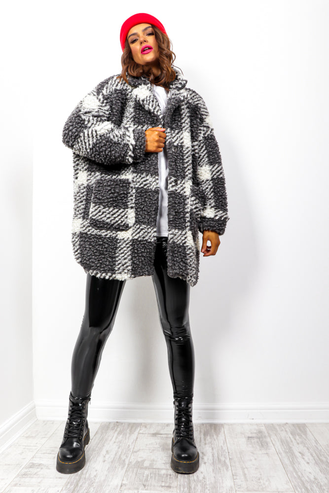 Shut The Fluff Up - Black Teddy Coat