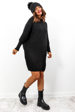 Simple And Cosy - Black Knitted Jumper Dress