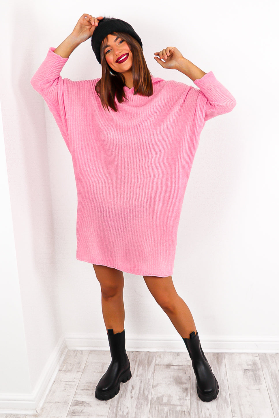 Simple And Cosy - Pink Knitted Jumper Dress