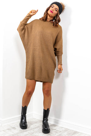 Simple And Cosy - Taupe Knitted Jumper Dress