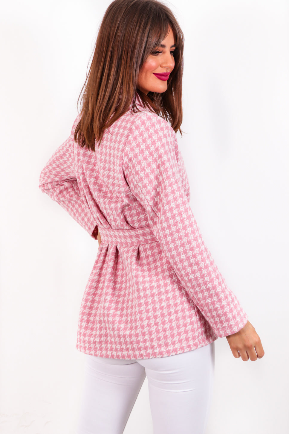 Simple But Smart - Pink Houndstooth Blazer
