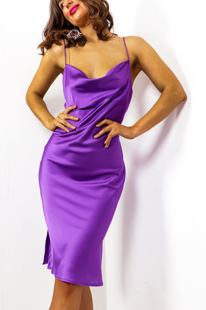 Slip Tease - Purple Cowl Neck Midi Dress
