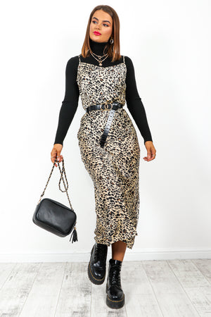 Slip Up - Beige Black Leopard Print Midi Slip Dress