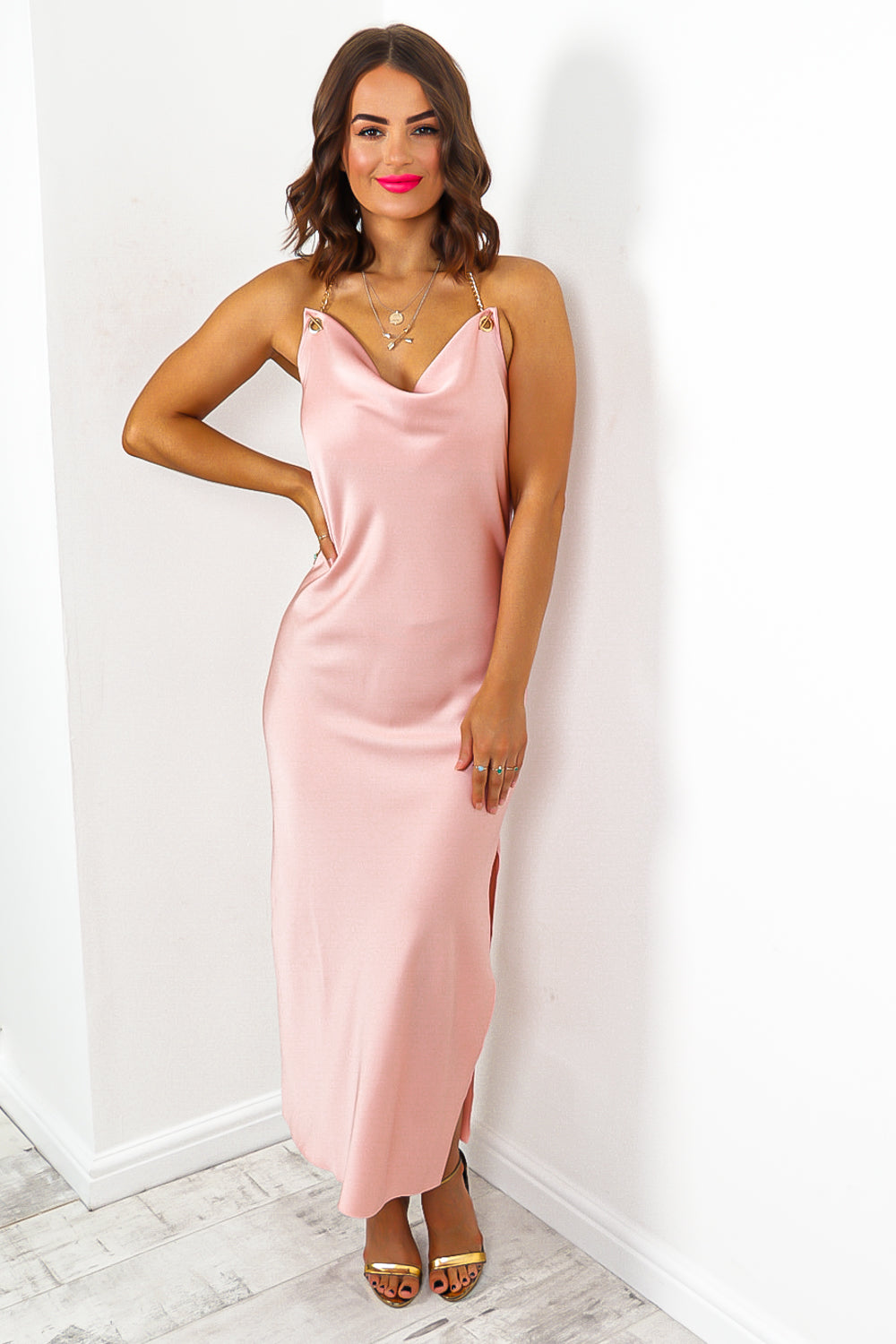 Blush Cowl Neck Midi Dress
