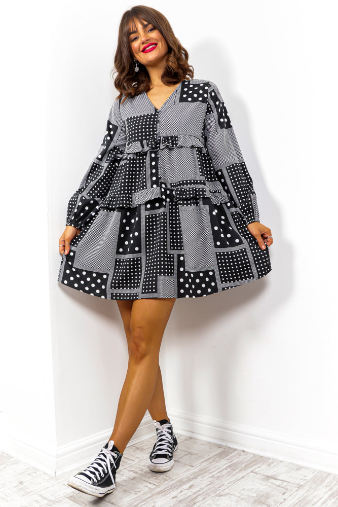 Smock Star - Black White Spotted Mini Dress