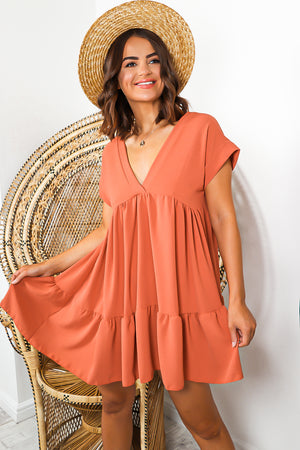 Terracotta Mini Smock Dress