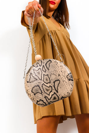 Snake A Chance - Nude Black Snake Print Bag