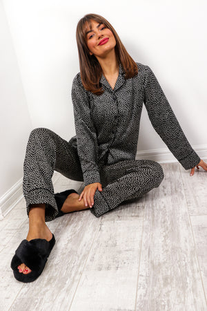 Snooze Button - Black Polka Dot Pyjama Set