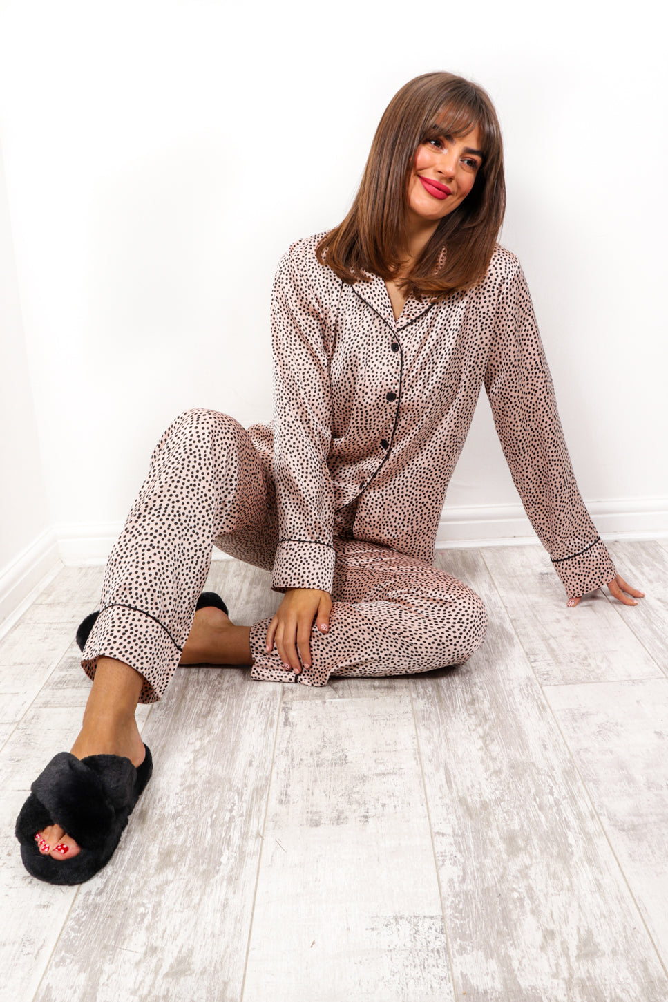 Snooze Button - Blush Polka Dot Pyjama Set