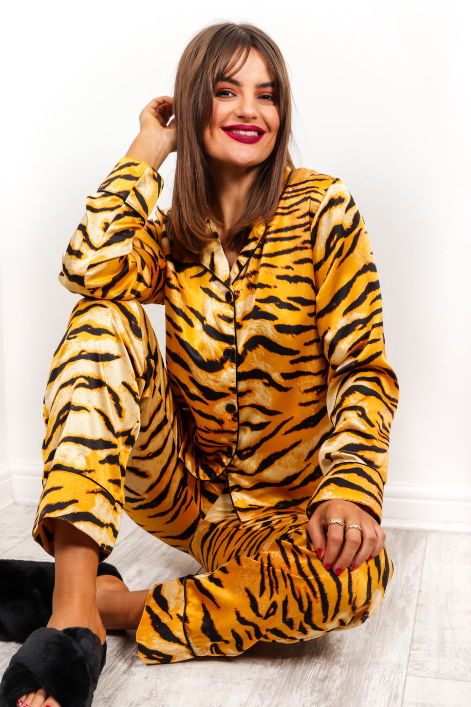 Snooze Button - Tiger Print Pyjama Set