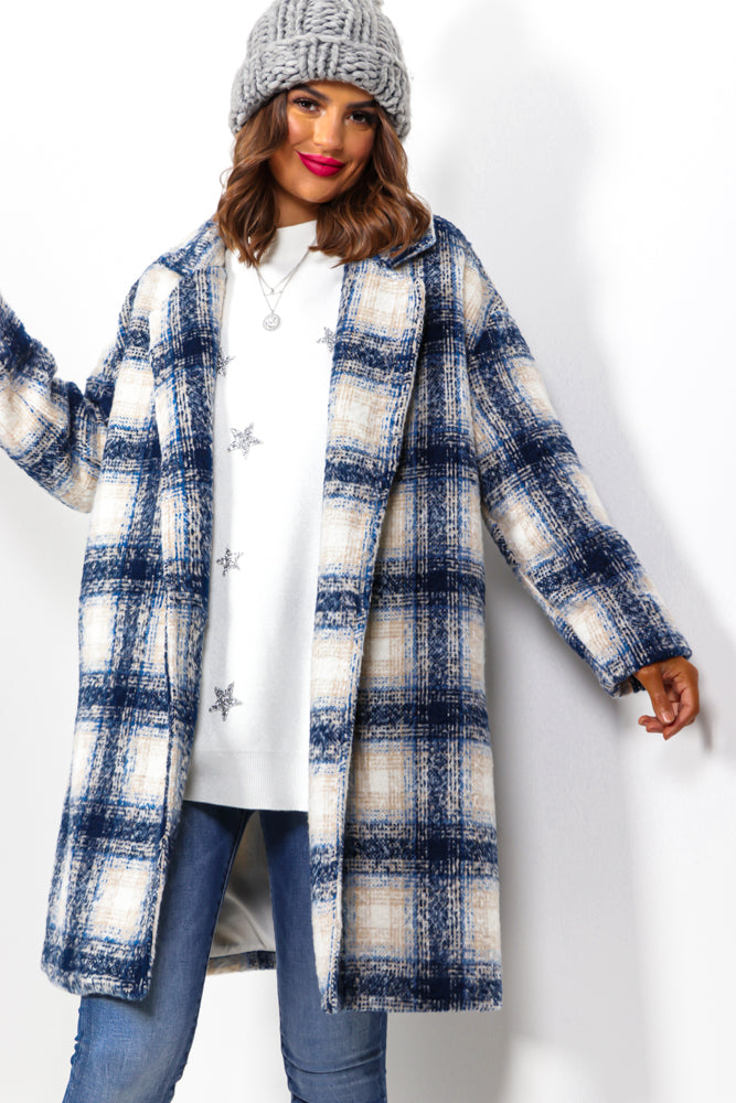 So Over It - Blue Checked Coat