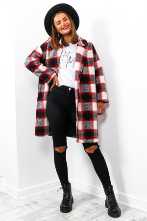 So Over It - Red Checked Coat