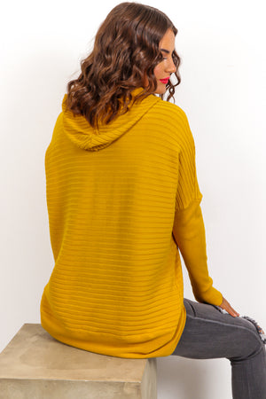 So Over Knit - Mustard Ribbed Knitted Hoodie