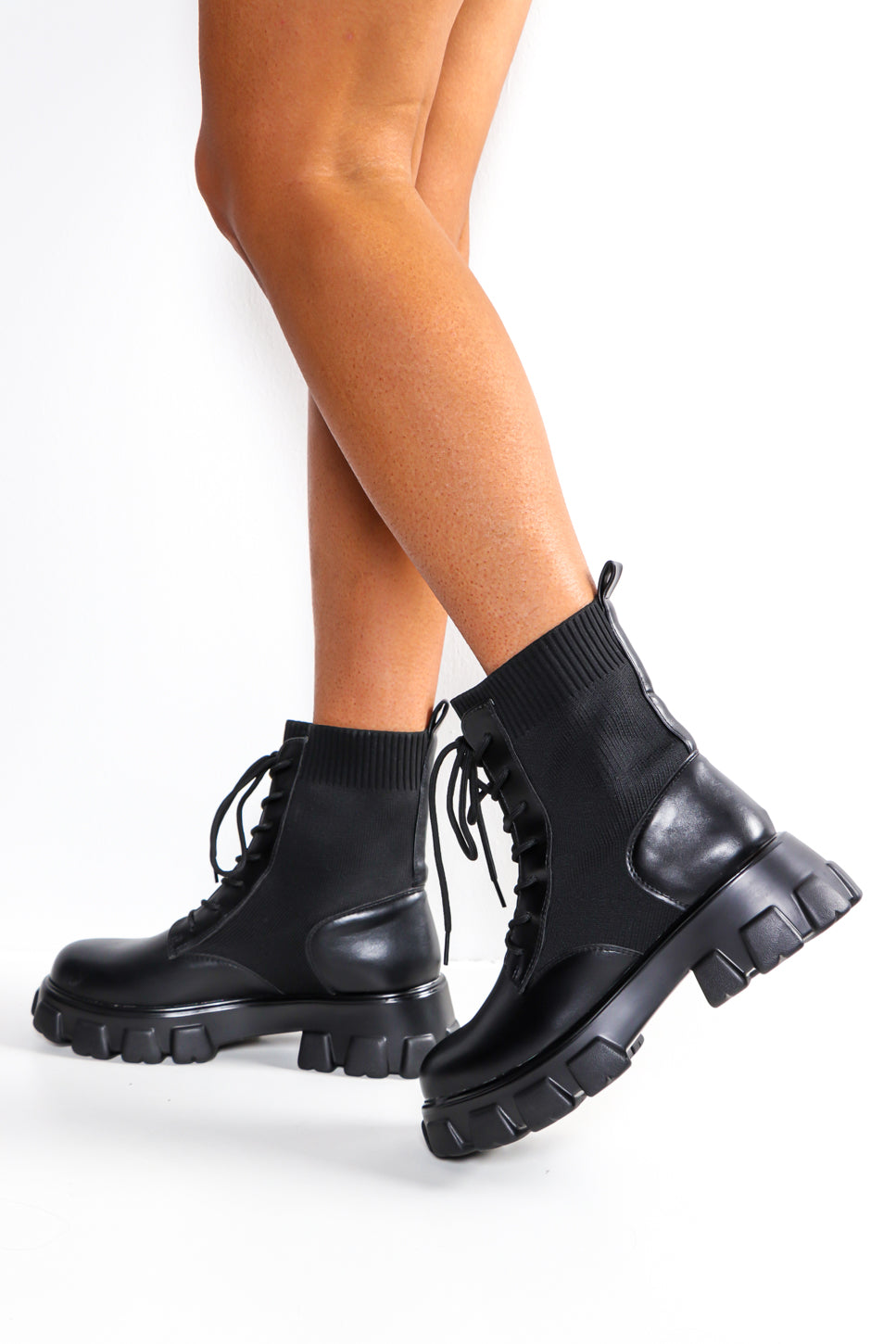 Sock Off - Black Lace Up Boot
