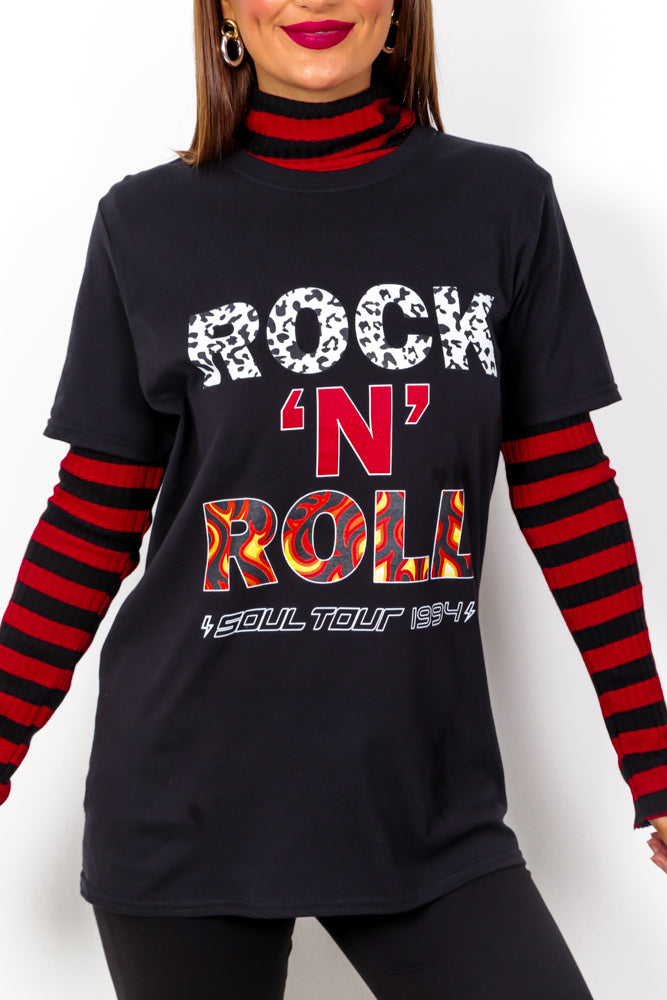 Soul Tour - Black Rock 'N' Roll Slogan T Shirt