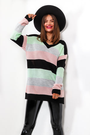 Sounds About Stripe - Black Multi Jumper