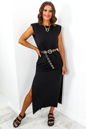 Black Shoulder Pad Split Leg Maxi Dress DLSB Womens Fashion
