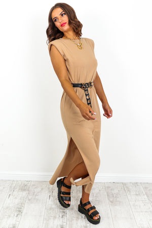 Camel Shoulder Pad Split Leg Maxi Dress DLSB Womens Fashion