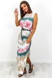 Green Tie Dye Shoulder Pad Split Leg Maxi Dress DLSB Womens Fashion