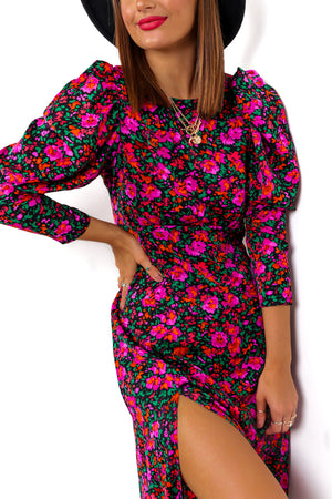 Split Decision - Fuchsia Multi Floral Midi Dress