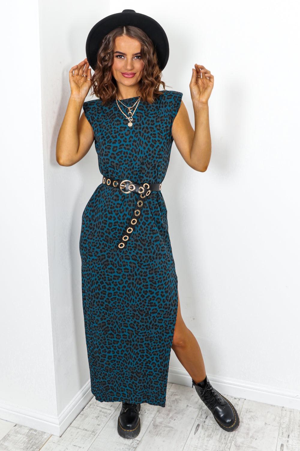 Blue Leopard Print Shoulder Pad Split Leg Maxi Dress