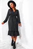 Spot Of Bother - Black Polka Dot Midi Dress