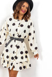 Spot To Love Ya - Cream Spot Frill Hem Shirt Dress