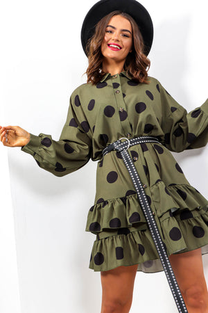 Spot To Love Ya - Forest Spot Frill Hem Shirt Dress